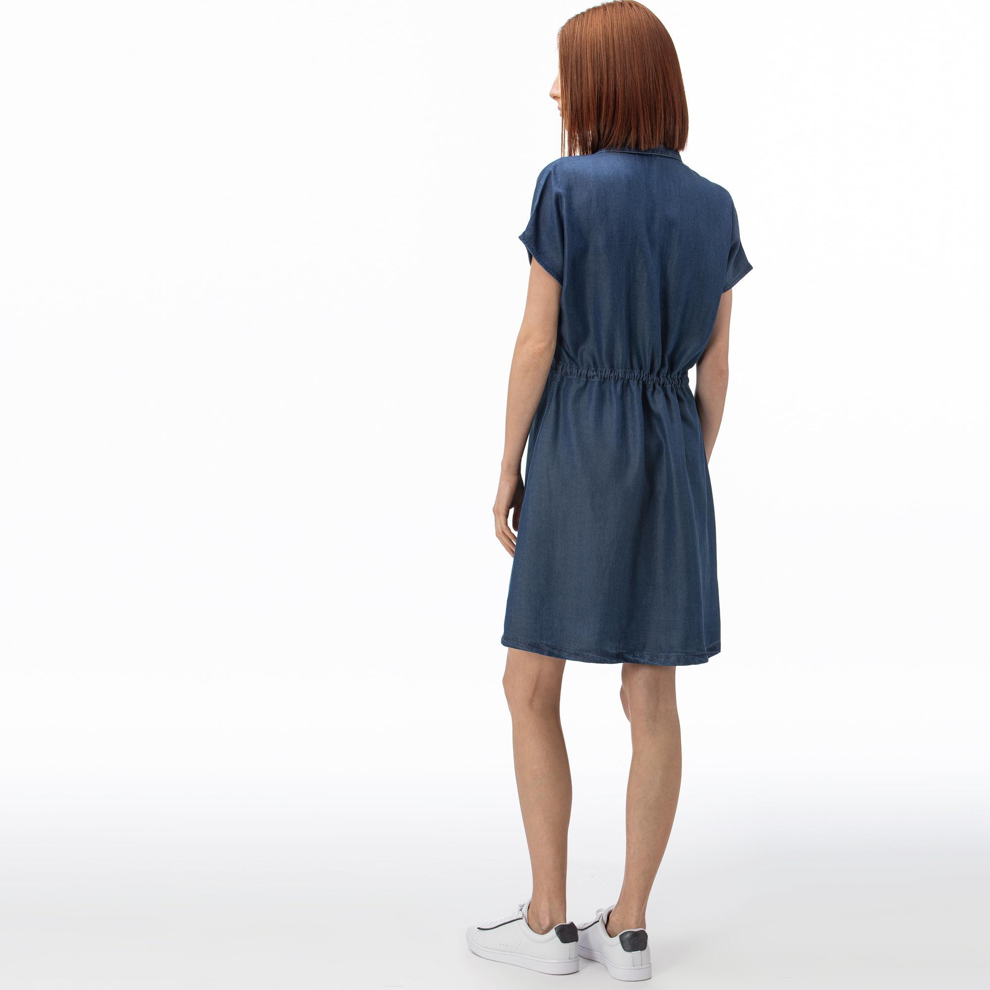 Lacoste Kadın Kısa Kollu Denim Lacivert Elbise