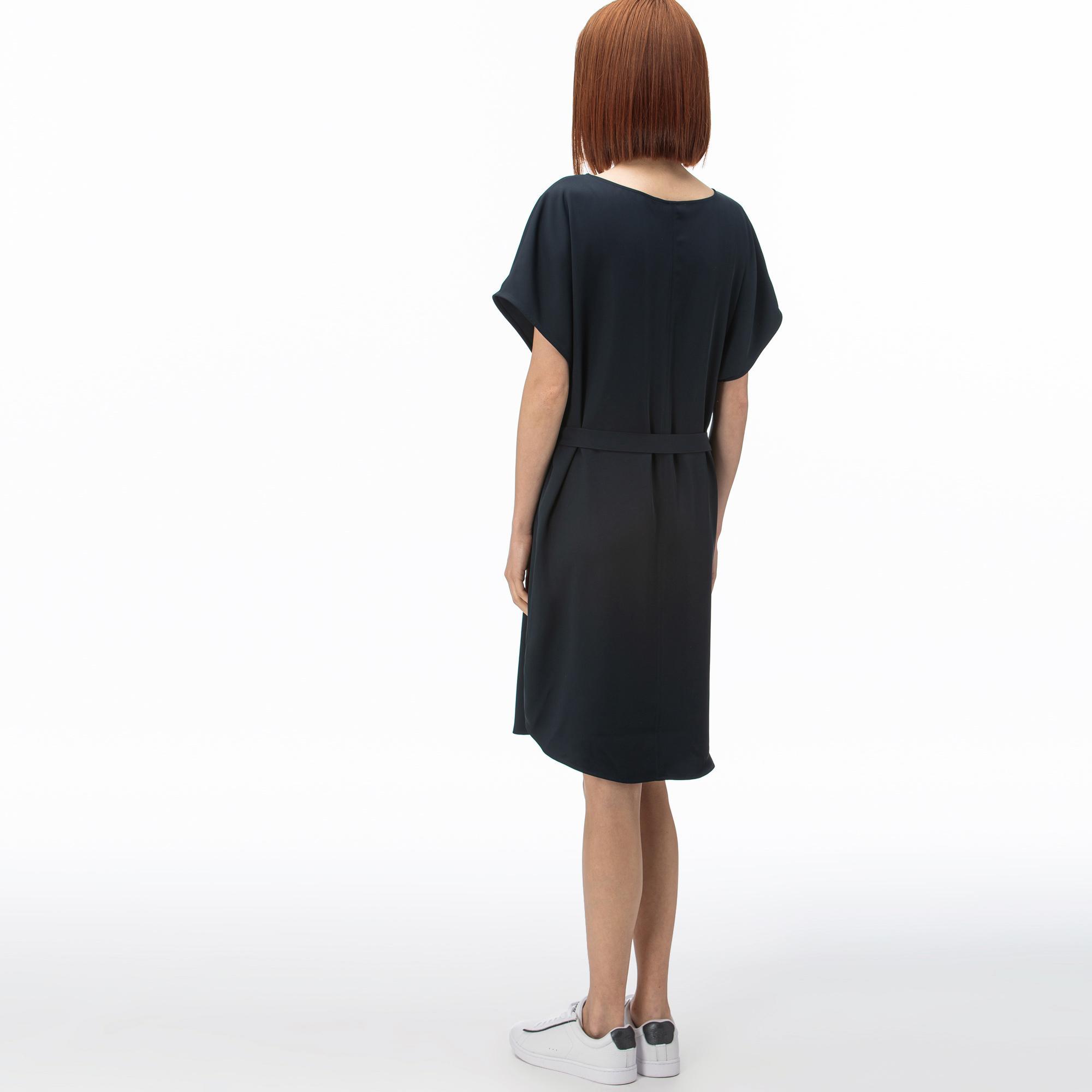 Lacoste Kadın Kayık Yaka Kısa Kollu Lacivert Elbise