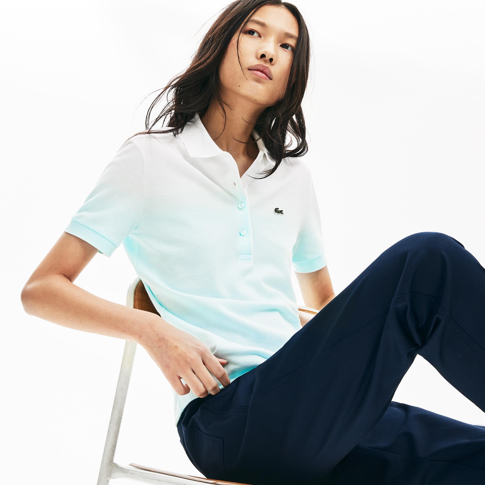 Lacoste Kadın Degrade Açık Mavi - Beyaz Polo