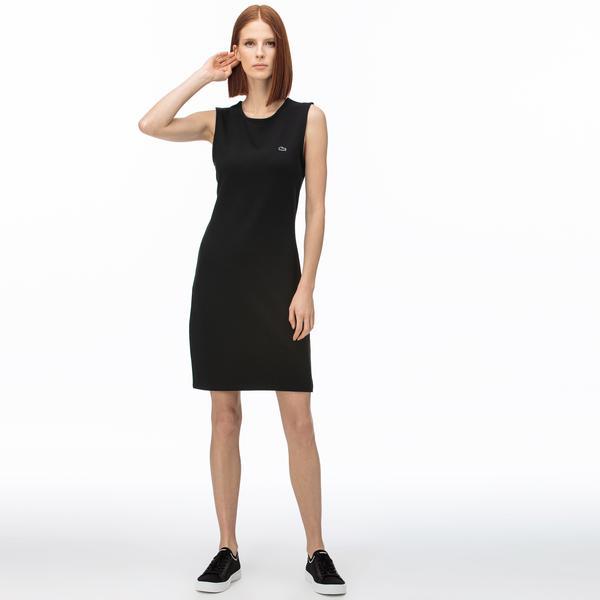Lacoste Kadın Bisiklet Yaka Kolsuz Siyah Elbise
