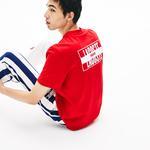 Lacoste L!VE Erkek Bisiklet Yaka Baskılı Kırmızı - Beyaz T-Shirt