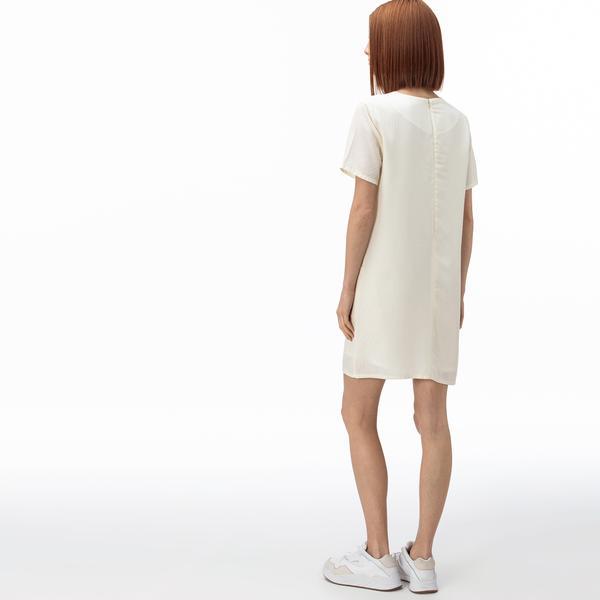 Lacoste Kadın Bisiklet Yaka Çizgili Kısa Kollu Beyaz Elbise