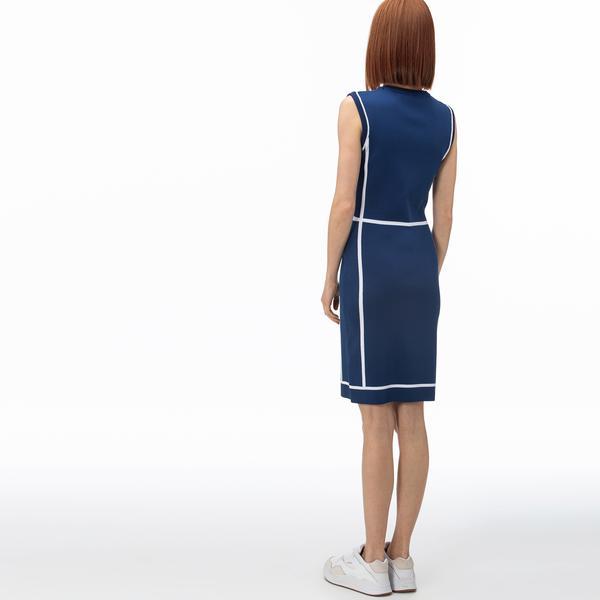 Lacoste Kadın V Yaka Kolsuz Saks Mavi Elbise