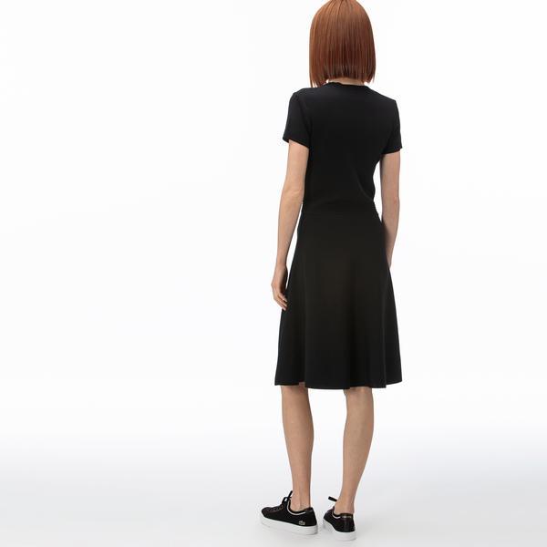 Lacoste Kadın V Yaka Kısa Kollu Siyah Elbise