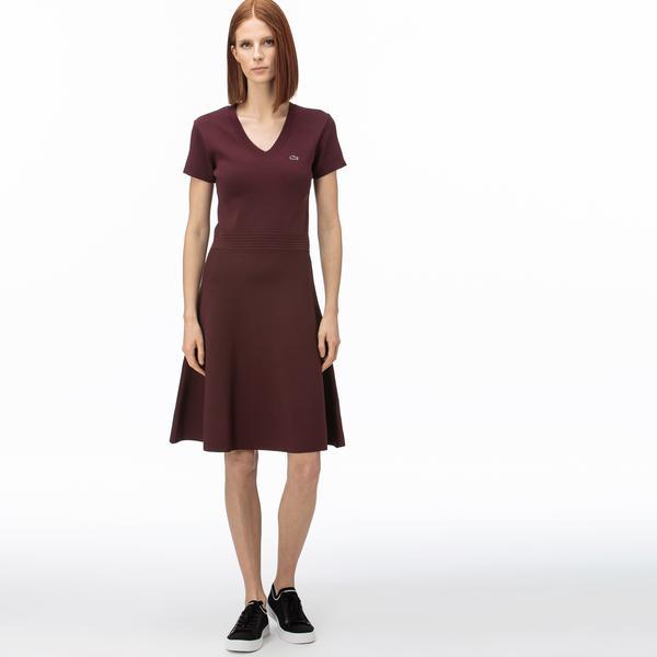 Lacoste Kadın V Yaka Kısa Kollu Bordo Elbise
