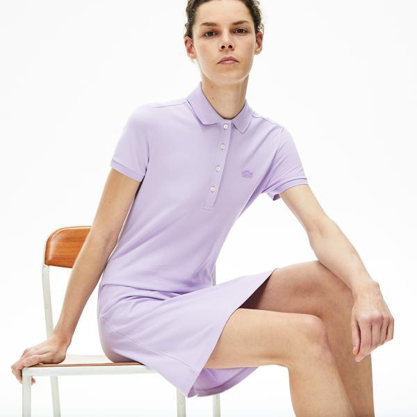 Lacoste Kadın Lila Polo Yaka Elbise