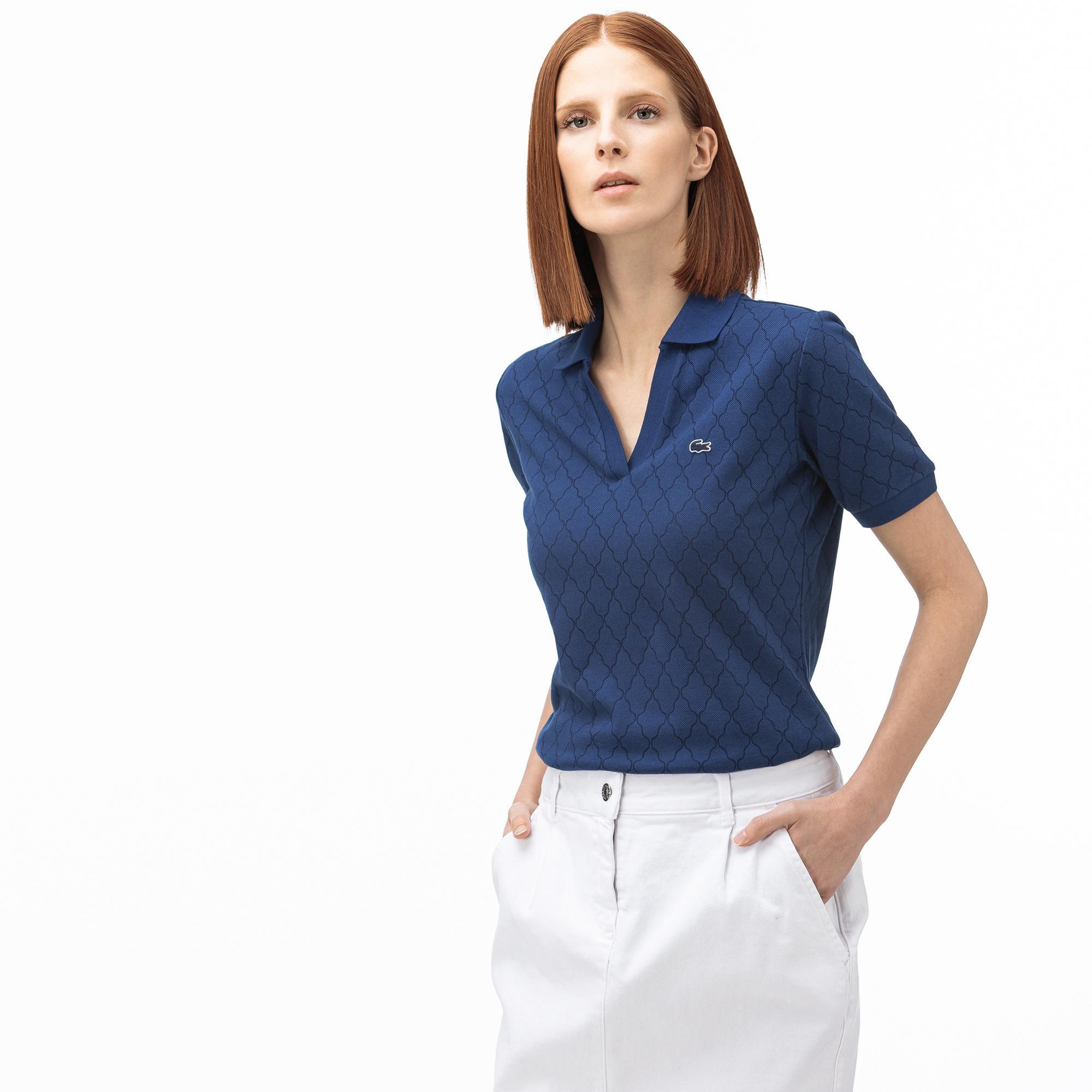 Lacoste Kadın Desenli Saks Mavi Polo