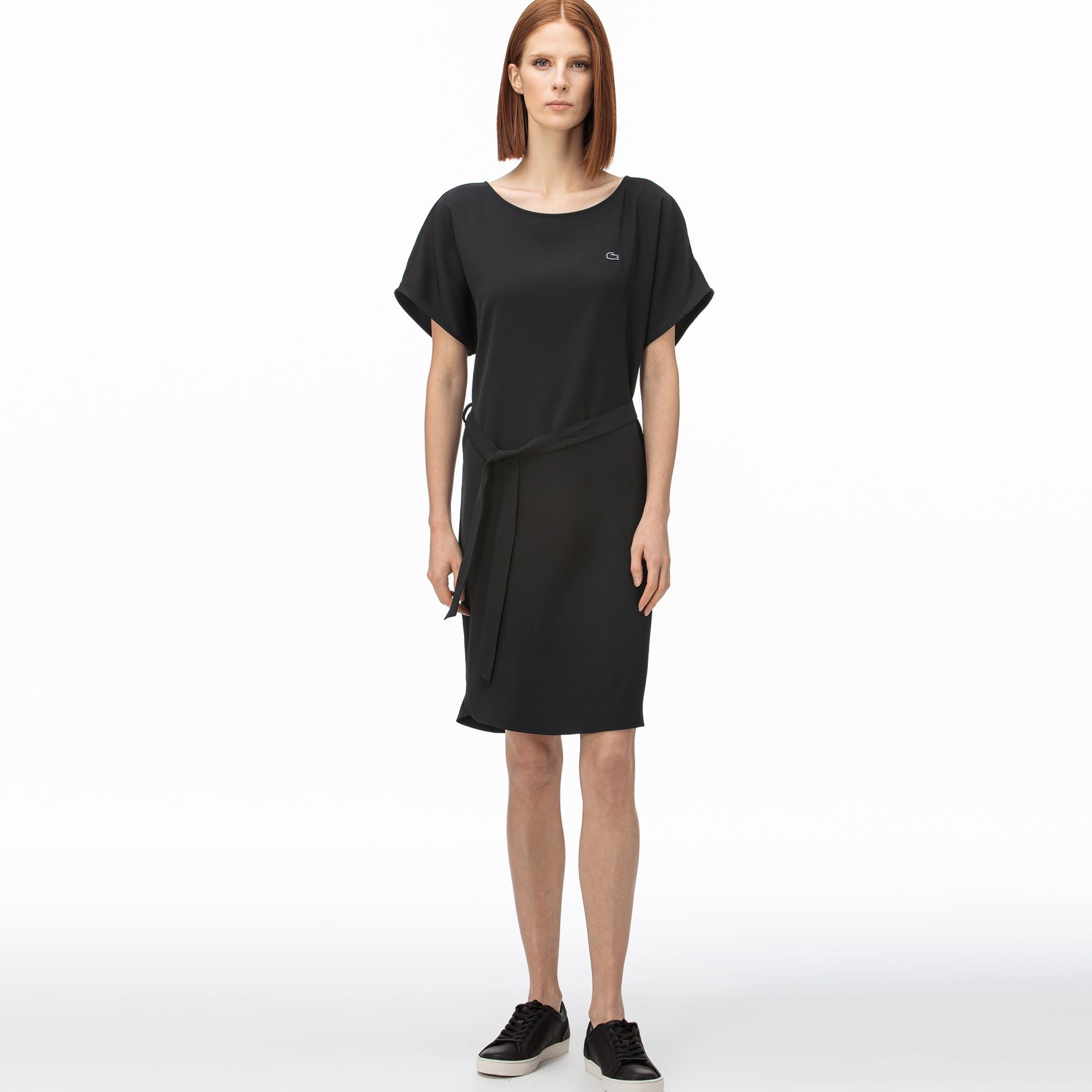 Lacoste Kadın Kayık Yaka Kısa Kollu Siyah Elbise
