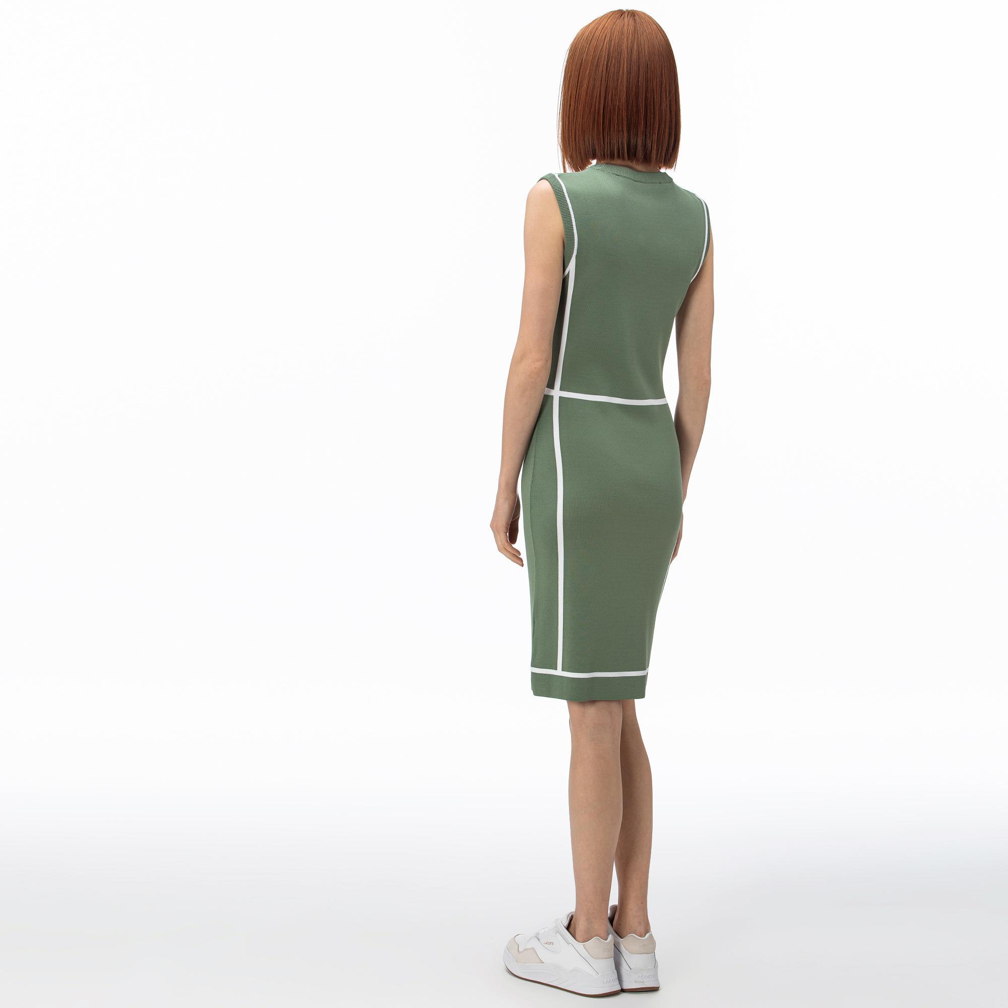 Lacoste Kadın V Yaka Kolsuz Haki Elbise