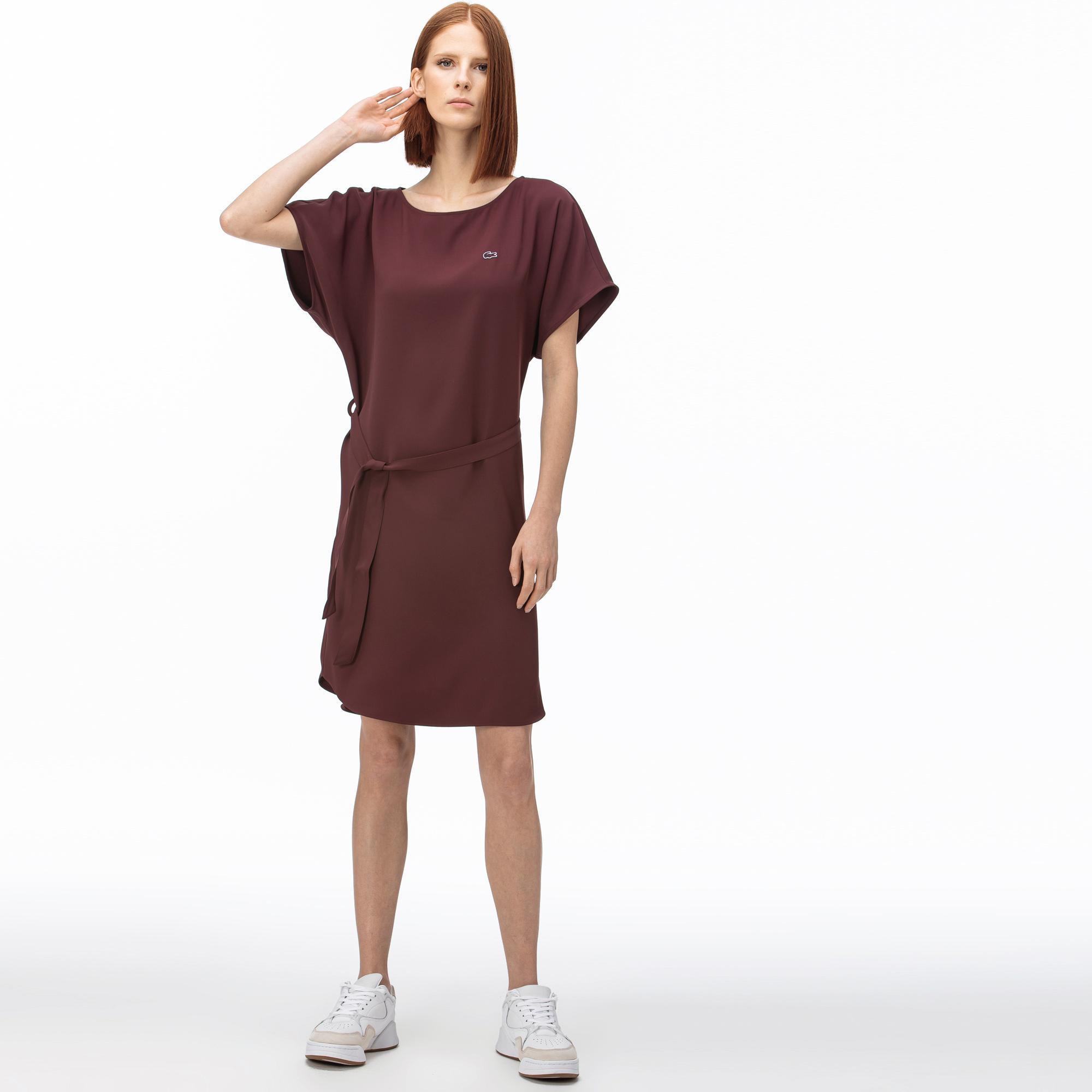 Lacoste Kadın Kayık Yaka Kısa Kollu Bordo Elbise