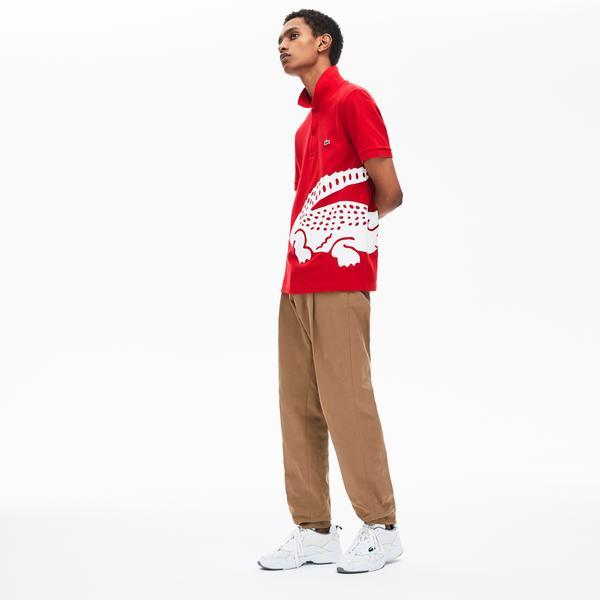 Lacoste Erkek Regular Fit Timsah Baskılı Kırmızı Polo