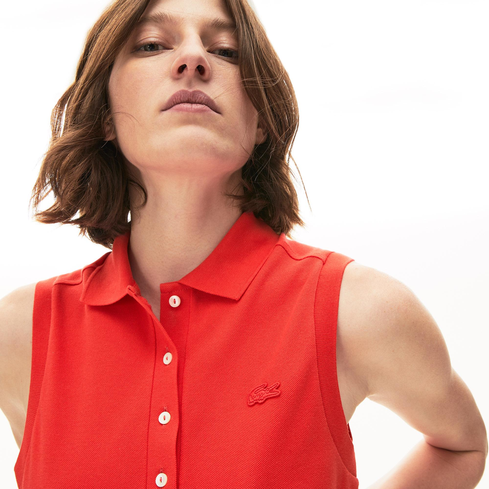 Lacoste Kadın Kolsuz Kırmızı Polo