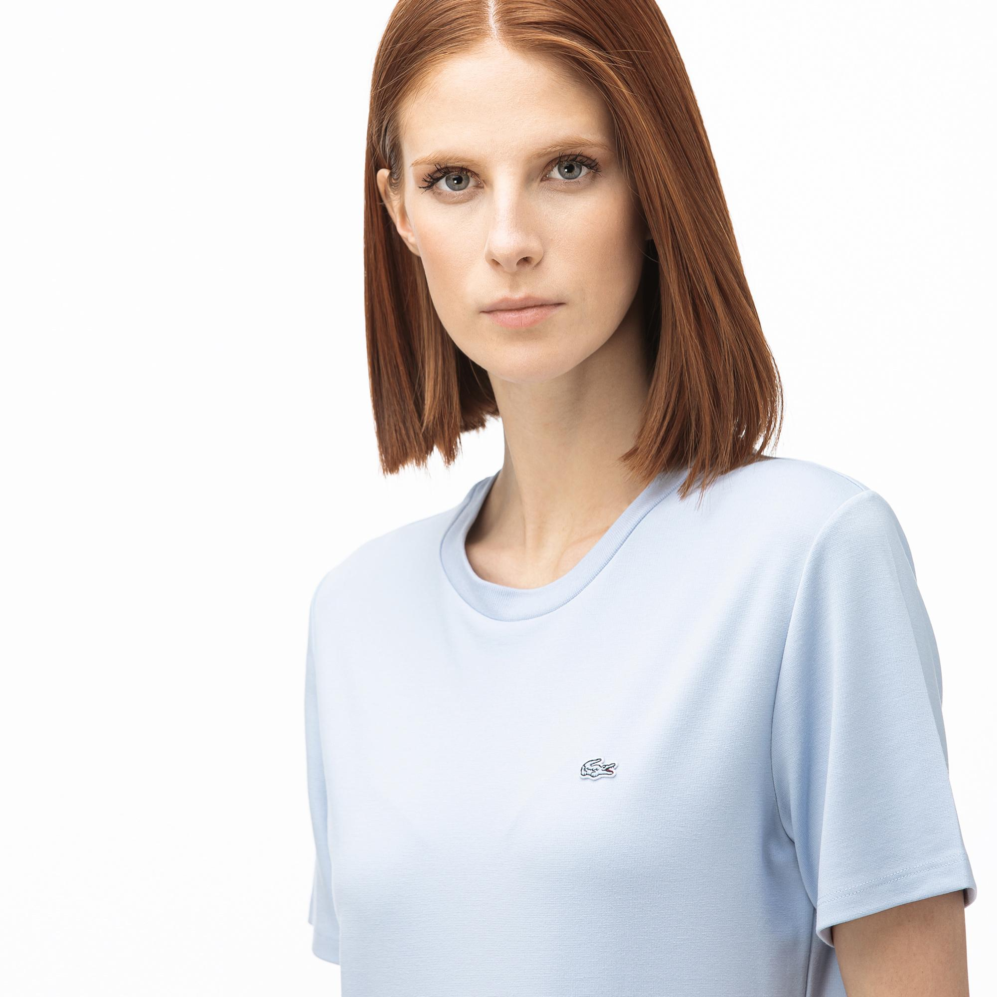 Lacoste Kadın Kayık Yaka Açık Mavi T-Shirt
