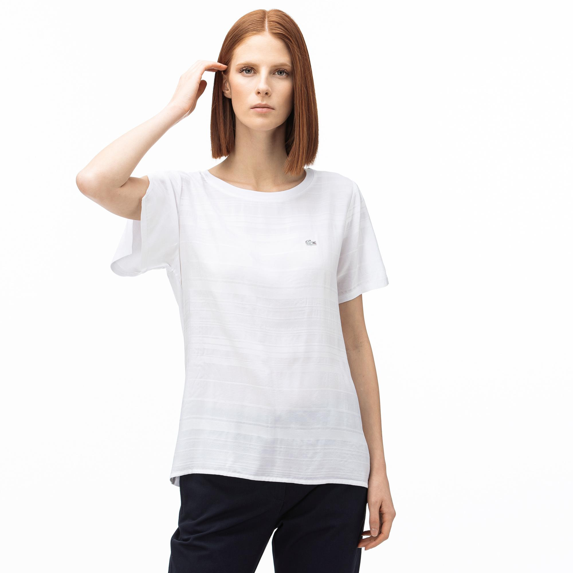 Lacoste Kadın Kayık Yaka Çizgili Beyaz T-Shirt