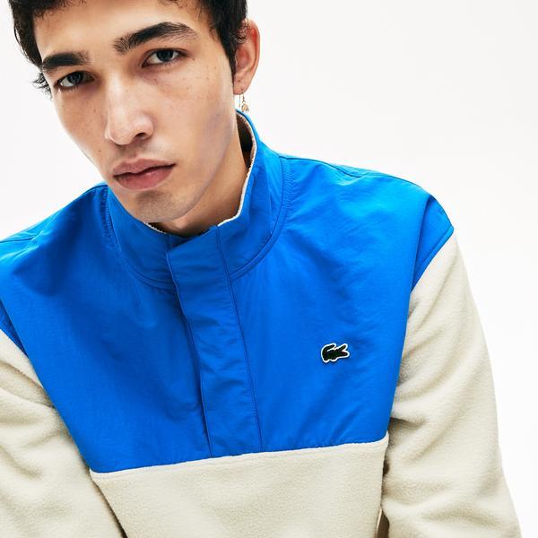 Lacoste L!VE Erkek Beyaz - Mavi Sweatshirt
