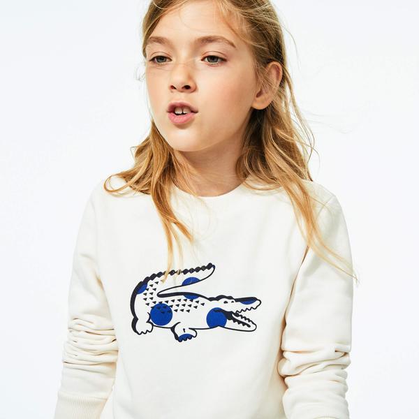 Lacoste Çocuk Bisiklet Yaka Timsah Baskılı Beyaz Sweatshirt