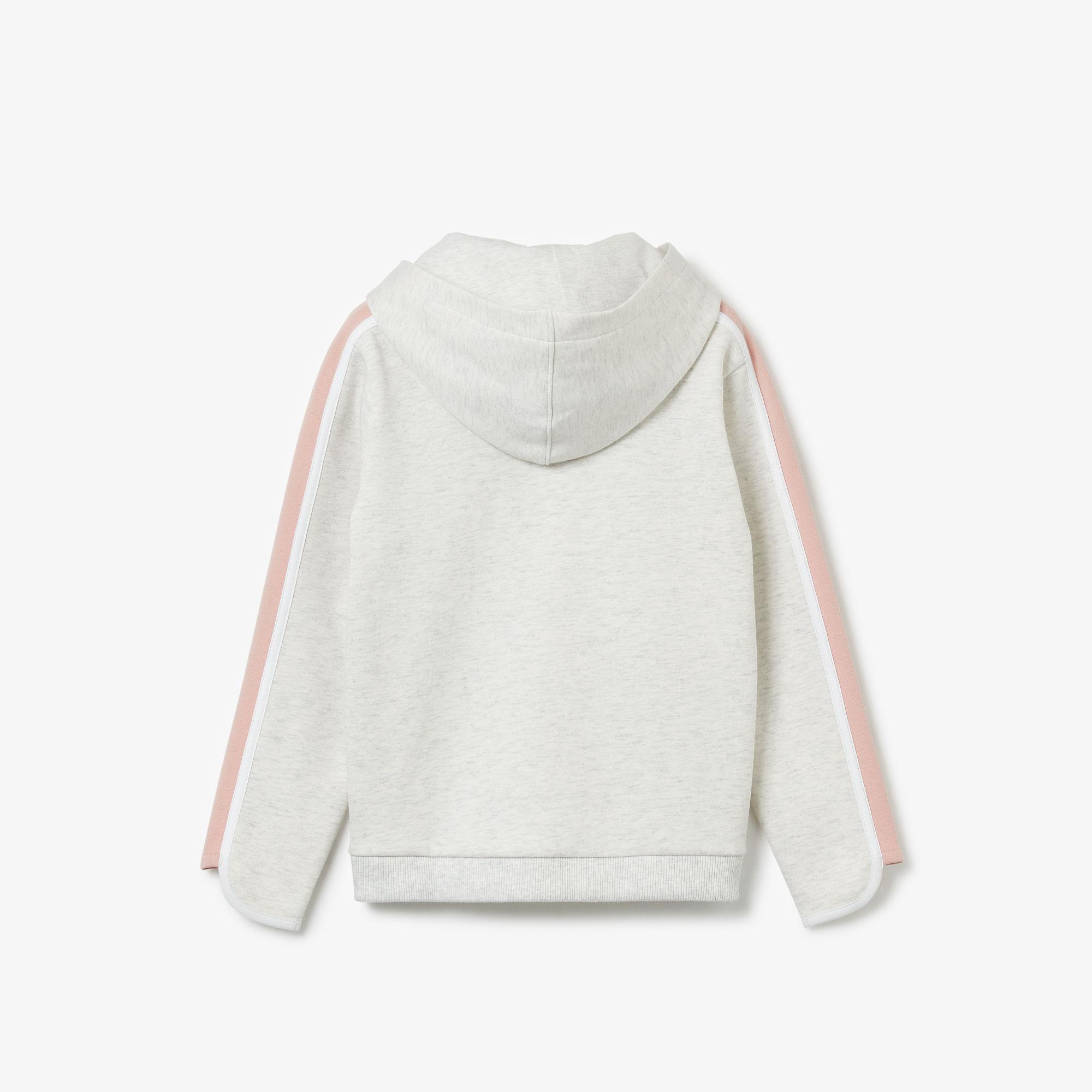 Lacoste Çocuk Kapüşonlu Açık Gri - Pembe Sweatshirt