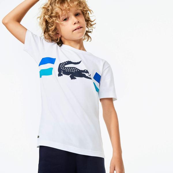 Lacoste Sport Çocuk Bisiklet Yaka Timsah Baskılı Beyaz T-Shirt