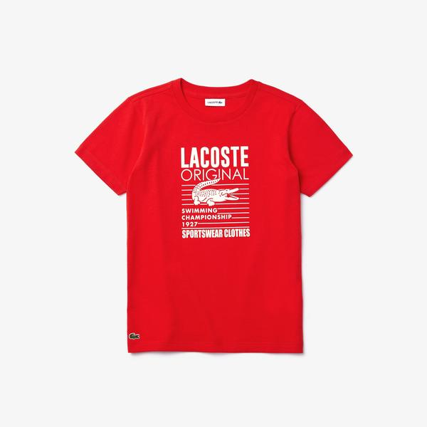 Lacoste Çocuk Bisiklet Yaka Baskılı Kırmızı T-Shirt