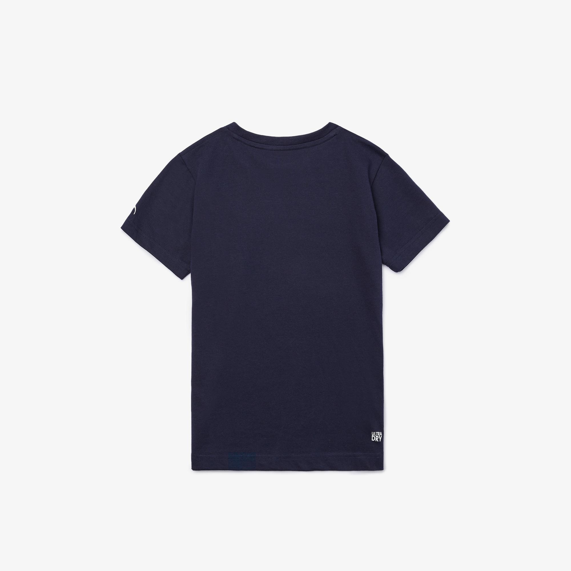 Lacoste Sport Çocuk Bisiklet Yaka Timsah Baskılı Lacivert T-Shirt