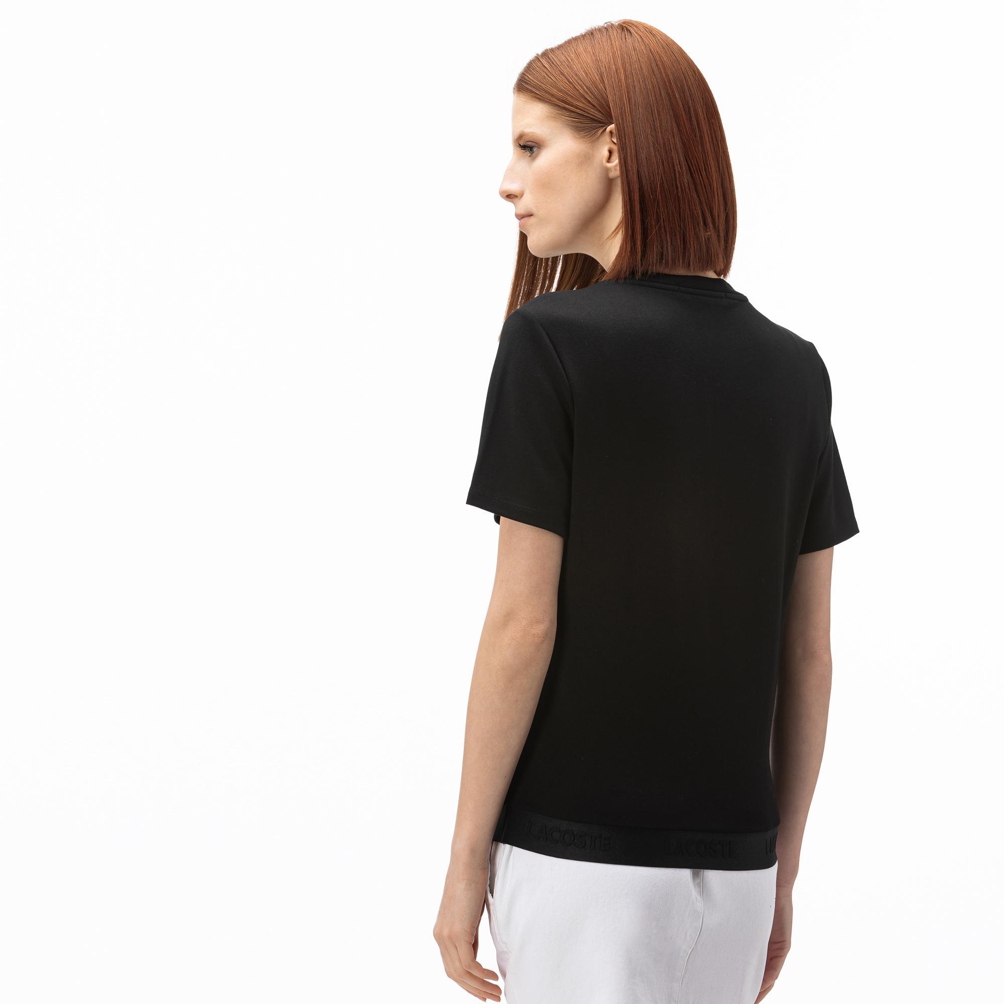 Lacoste Kadın Kayık Yaka Siyah T-Shirt