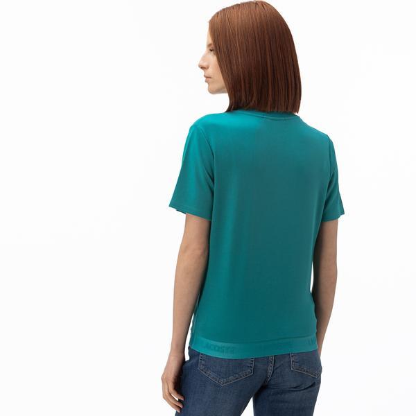 Lacoste Kadın Kayık Yaka Yeşil T-Shirt