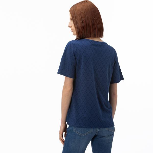 Lacoste Kadın V Yaka Desenli Saks Mavi T-Shirt
