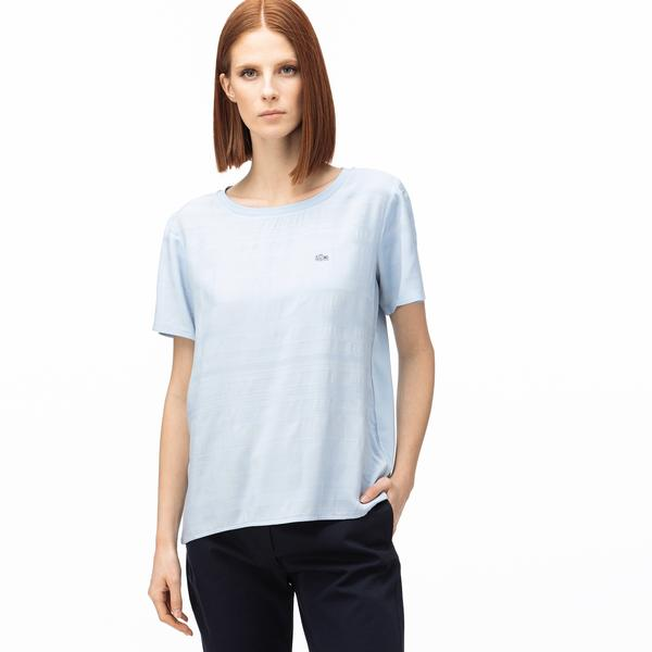 Lacoste Kadın Kayık Yaka Çizgili Açık Mavi T-Shirt