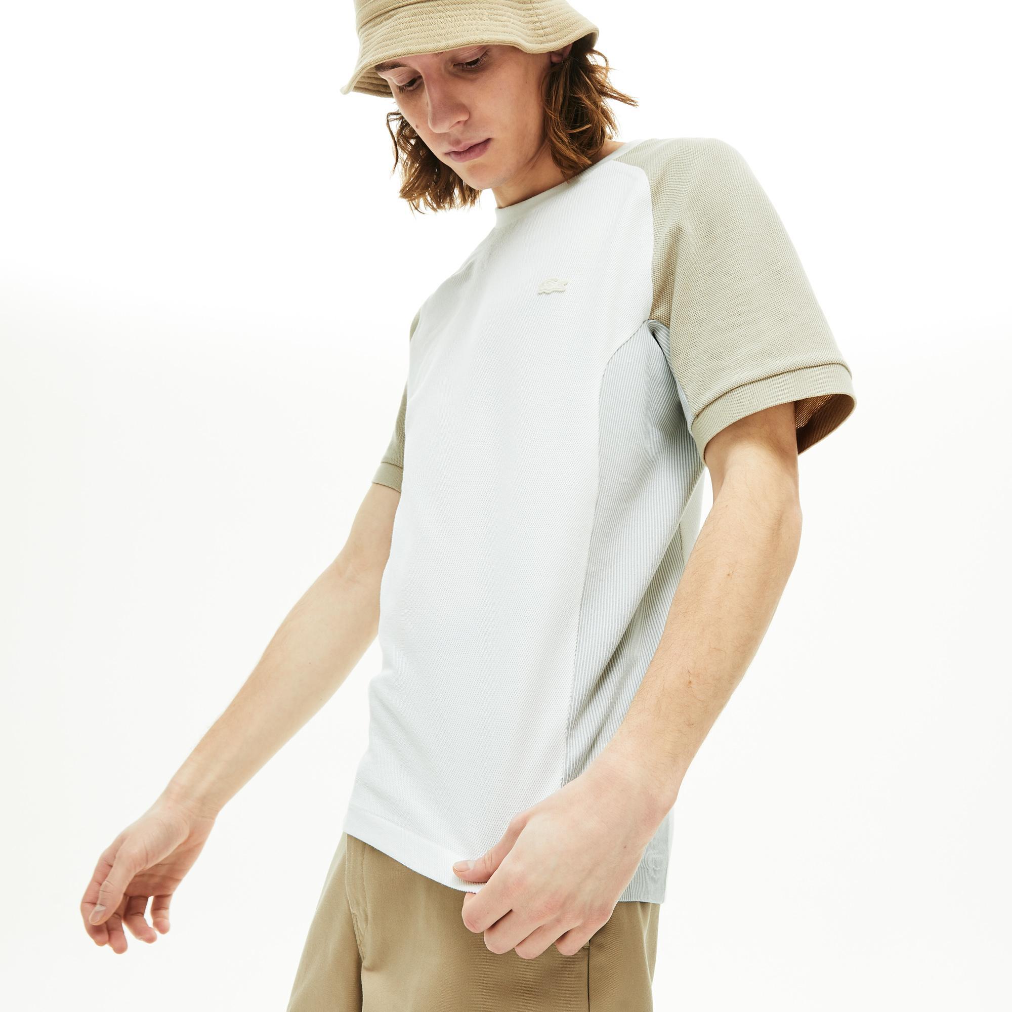 Lacoste Erkek Bisiklet Yaka Blok Desenli Beyaz T-Shirt