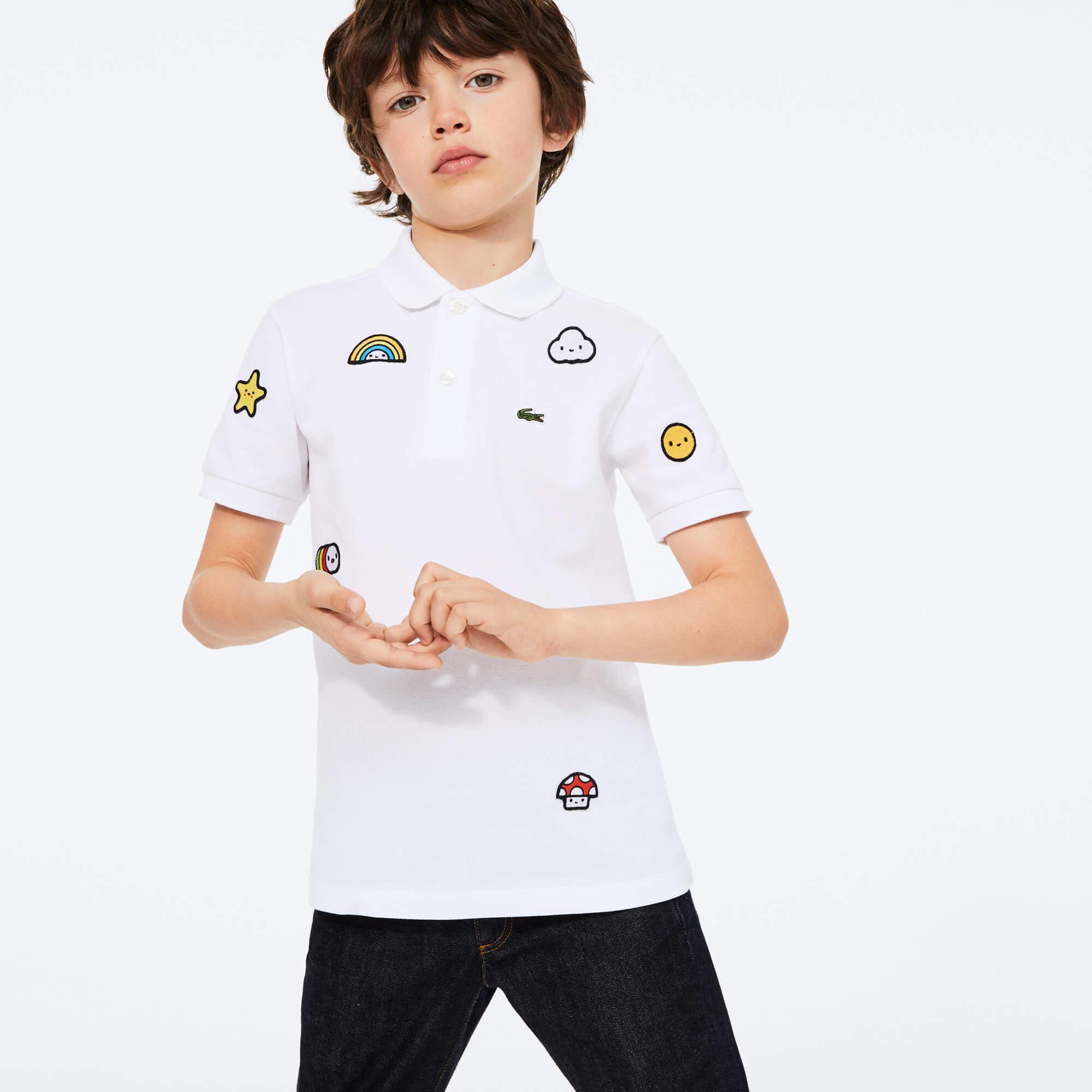 Lacoste X FriendsWithYou Çocuk Desenli Beyaz Polo