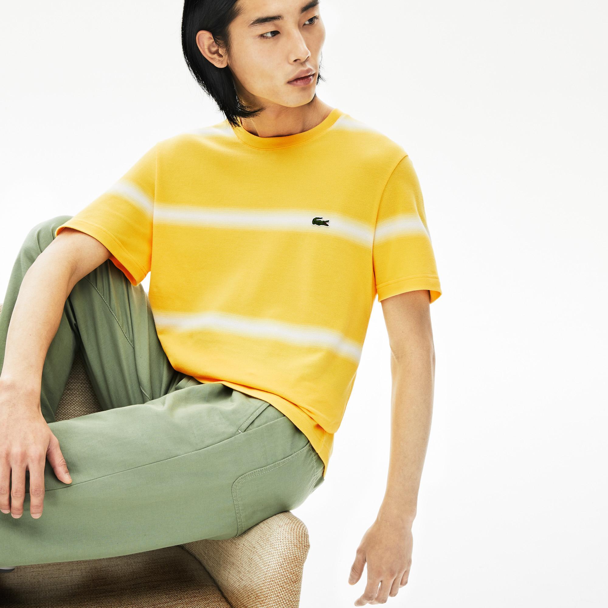 Lacoste Erkek Bisiklet Yaka Çizgili Sarı T-Shirt