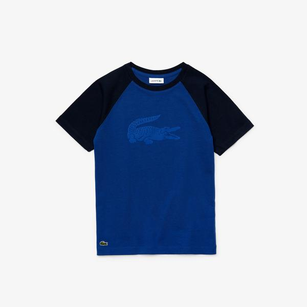 Lacoste Çocuk Bisiklet Yaka Timsah Baskılı Saks Mavi T-Shirt