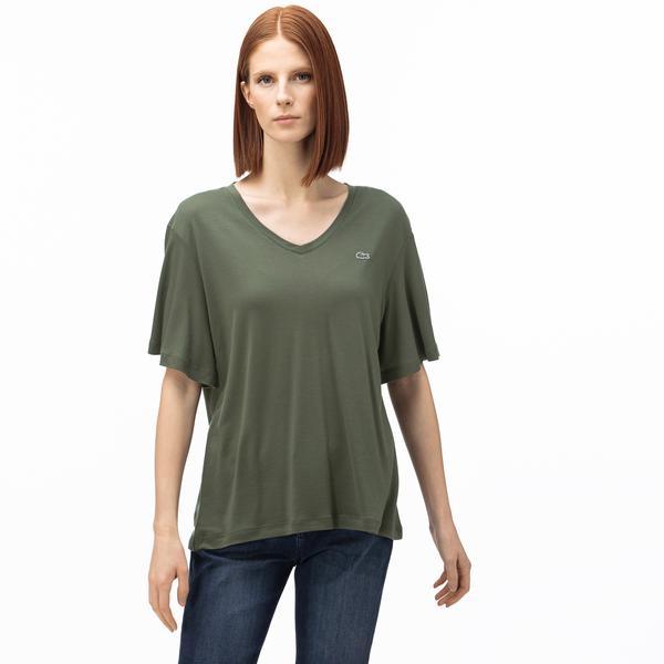 Lacoste Kadın V Yaka Haki T-Shirt