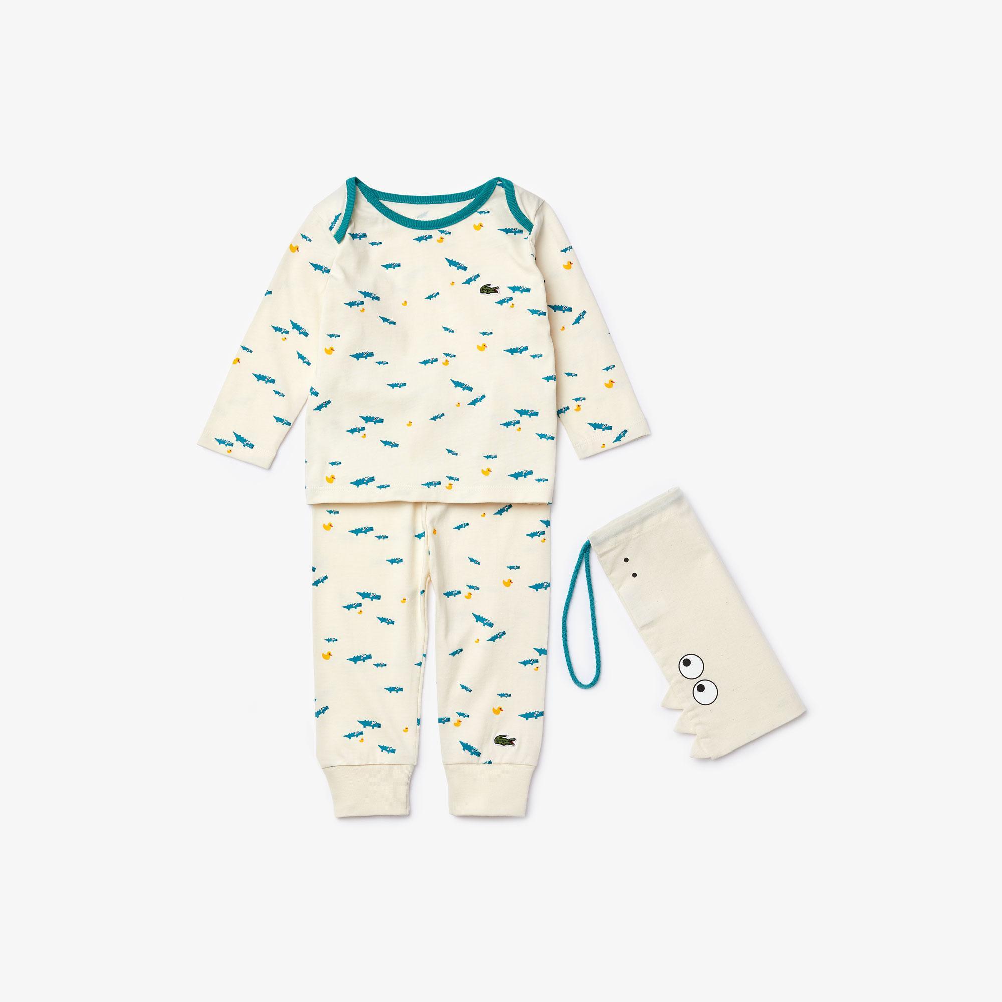 Lacoste Çocuk Timsah Desenli Uzun Kollu Beyaz Pijama
