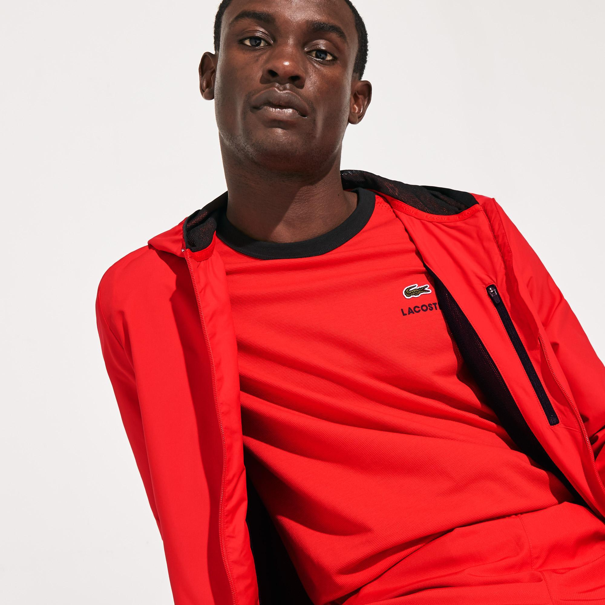 Lacoste Sport Erkek Suya Dayanıklı Kapüşonlu Kırmızı Mont