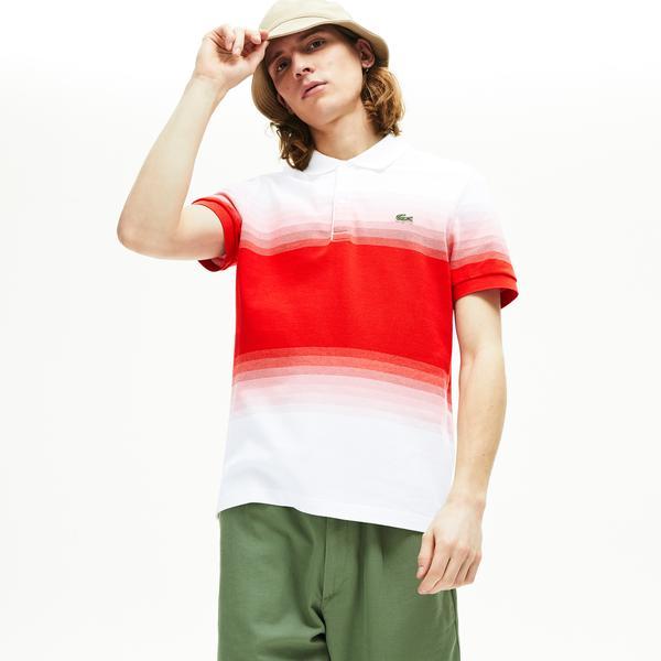 Lacoste Erkek Regular Fit Degrade Beyaz - Kırmızı Polo