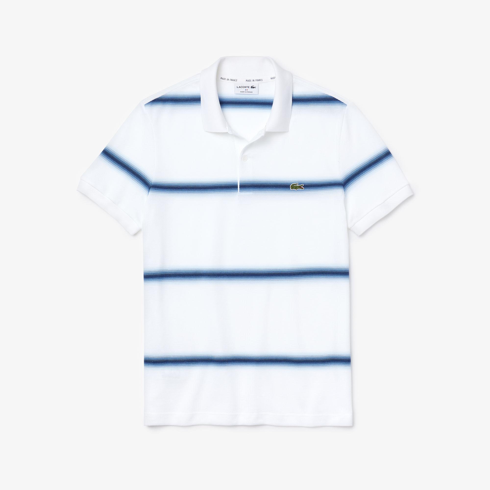 Lacoste Erkek Regular Fit Çizgili Beyaz - Saks Mavi Polo