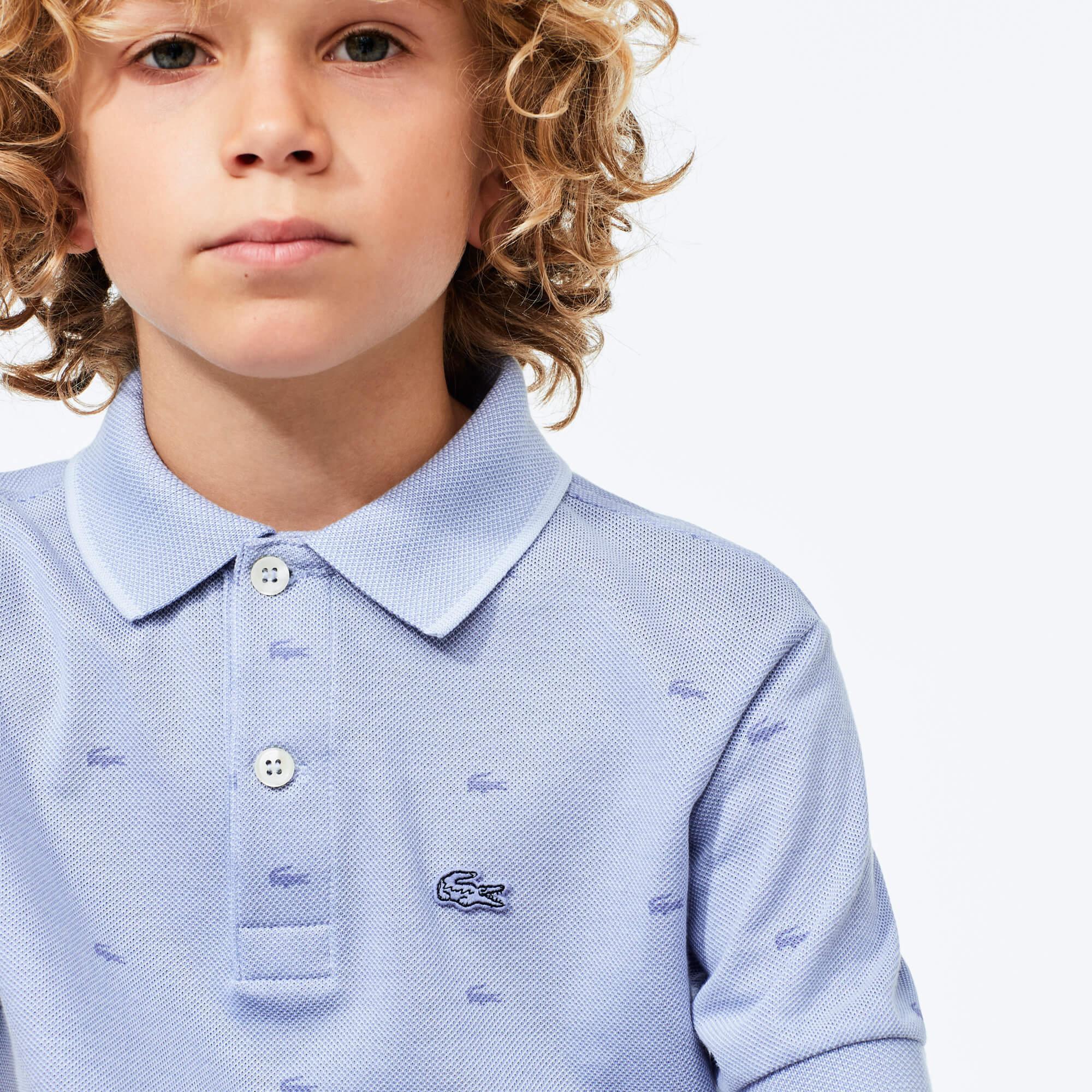 Lacoste Çocuk Timsah Baskılı Mavi Polo