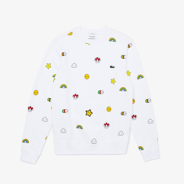 Lacoste X FriendsWithYou Unisex Bisiklet Yaka Desenli Beyaz Sweatshirt
