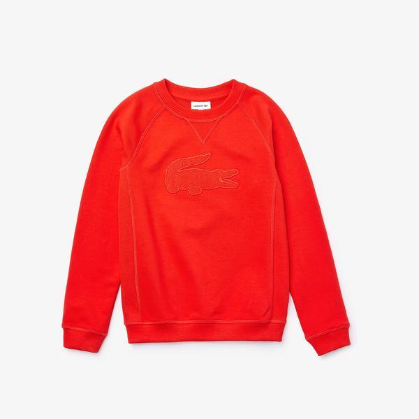 Lacoste Çocuk Bisiklet Yaka Timsah Baskılı Kırmızı Sweatshirt