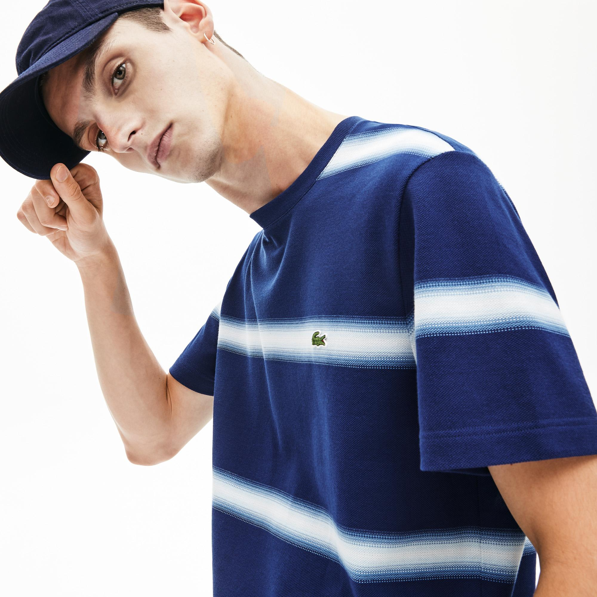 Lacoste Erkek Bisiklet Yaka Çizgili Lacivert T-Shirt