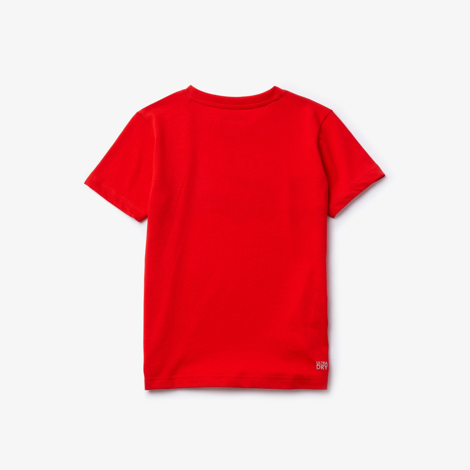 Lacoste Sport Çocuk Bisiklet Yaka Timsah Baskılı Kırmızı T-Shirt