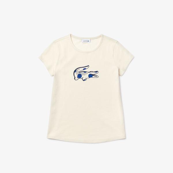 Lacoste Çocuk Bisiklet Yaka Timsah Baskılı Açık Pembe T-Shirt