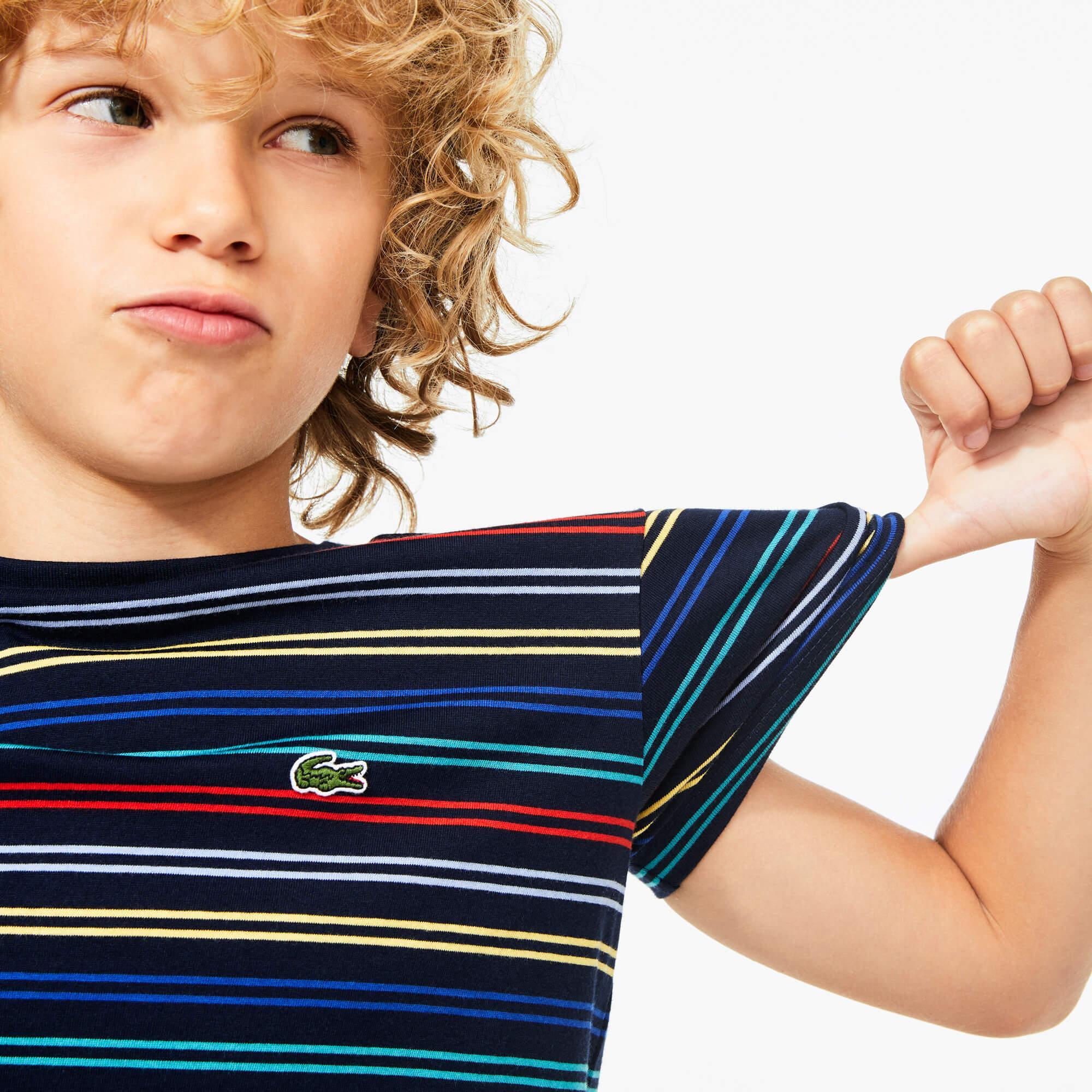 Lacoste Çocuk Bisiklet Yaka Çizgili Lacivert T-Shirt