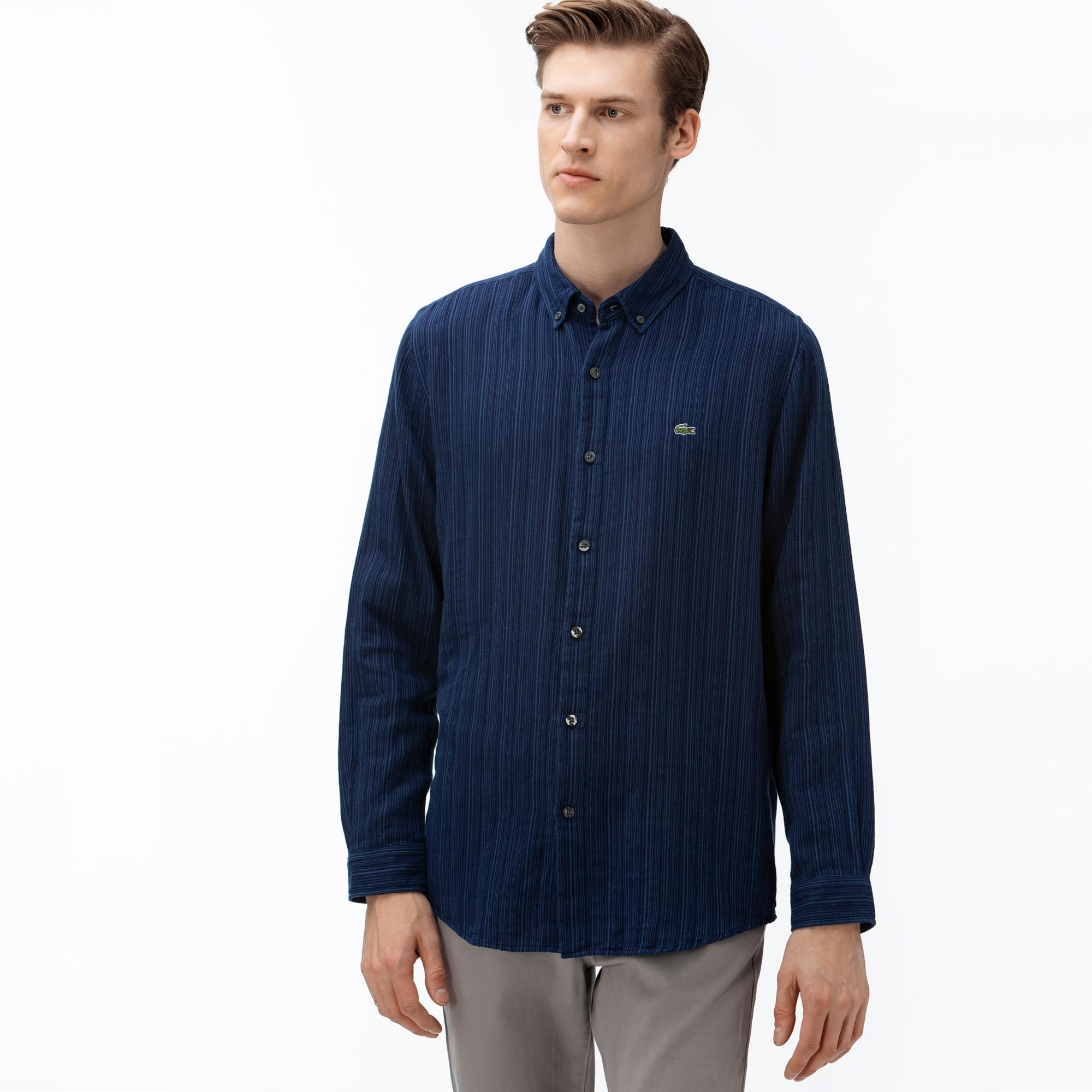Lacoste Erkek Regular Fit Düğmeli Yaka Çizgili Lacivert Gömlek