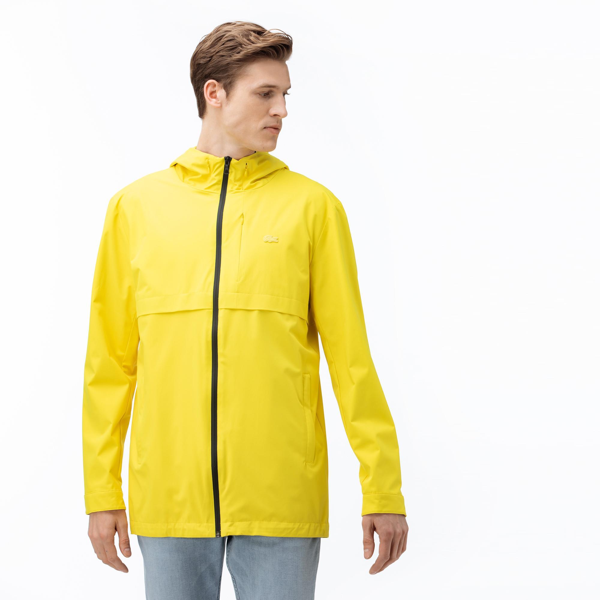 Lacoste Erkek Kapüşonlu Suya Dayanıklı Sarı Yağmurluk