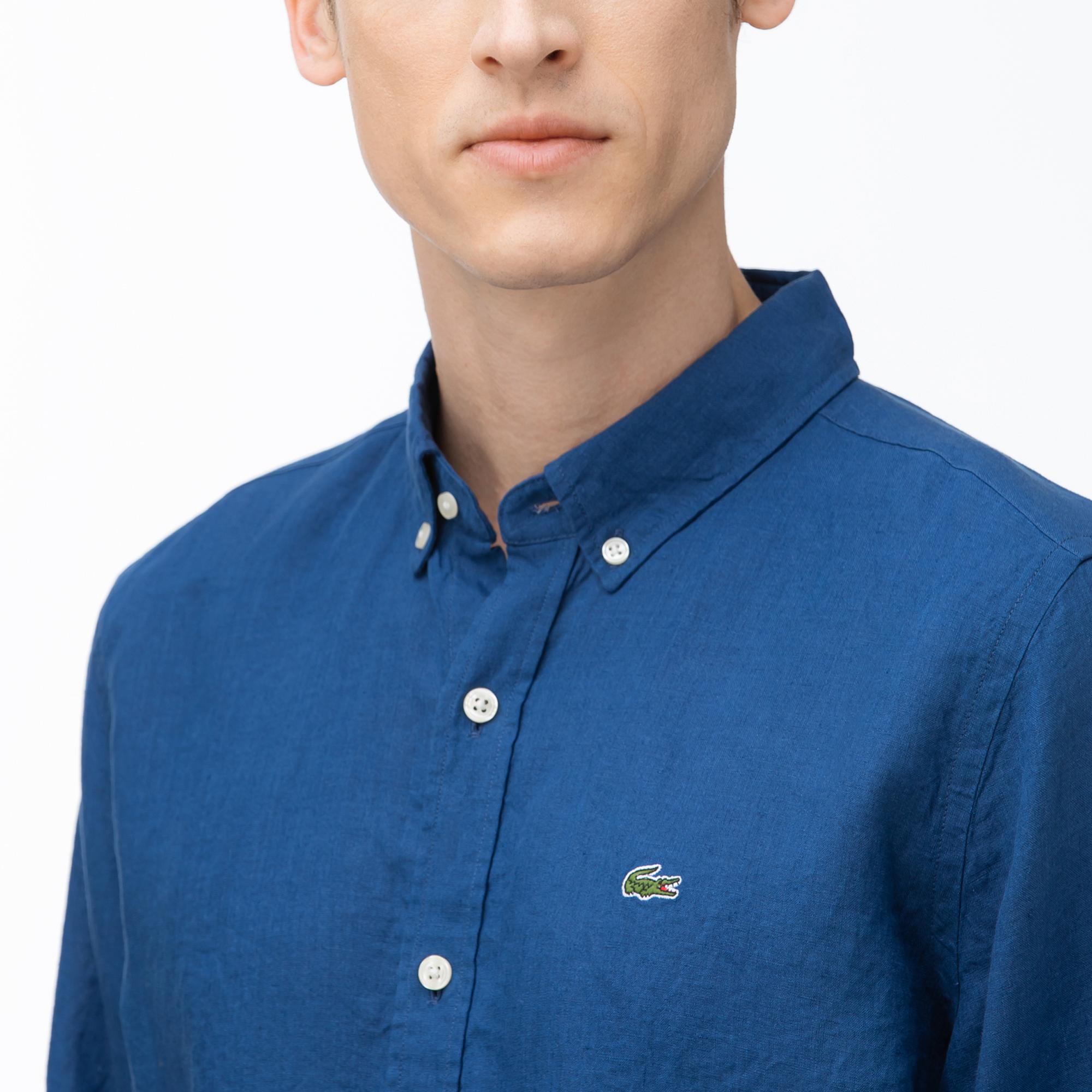 Lacoste Erkek Regular Fit Düğmeli Yaka Saks Mavi Keten Gömlek