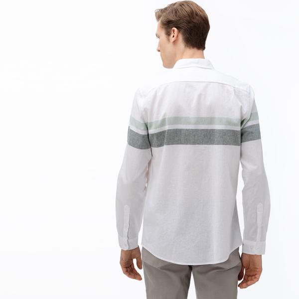 Lacoste Erkek Slim Fit Düğmeli Yaka Blok Desenli Haki Gömlek