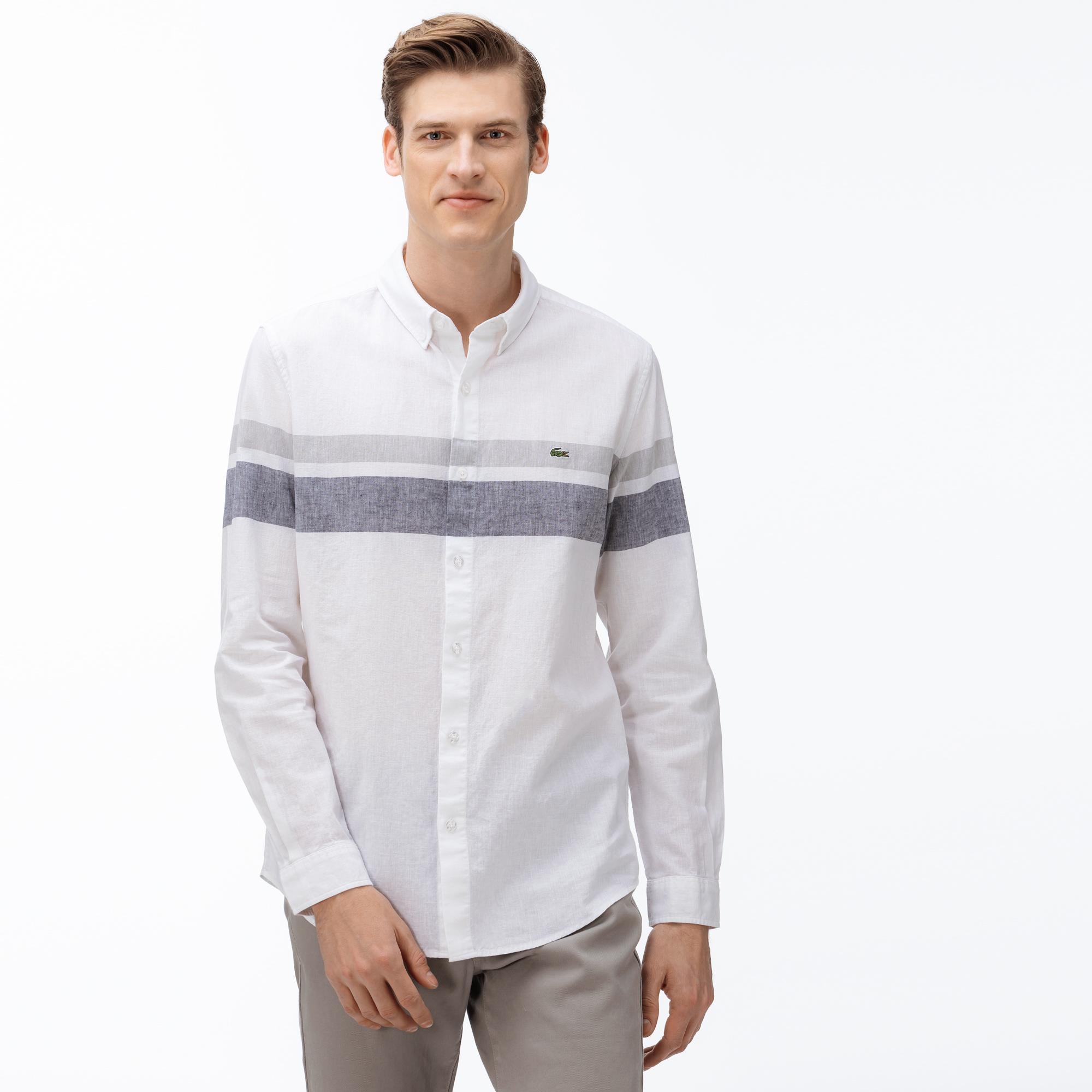 Lacoste Erkek Slim Fit Düğmeli Yaka Blok Desenli Beyaz Gömlek