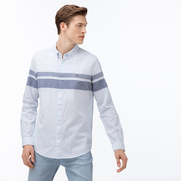 Lacoste Erkek Slim Fit Düğmeli Yaka Blok Desenli Açık Mavi Gömlek
